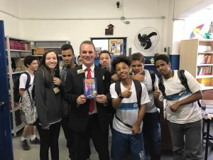 Mayor Pro-Tem Tim Shaw of the City of La Habra, CA with junior high students in Rio de Janeiro.
